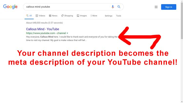 your YouTube channel meta description is generated by using the channel description